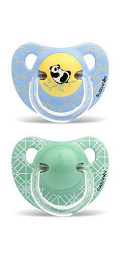 Suavinex - Pack de 2 Chupetes +18 Meses. Tetina Anatómica de Silicona 0% Bisphenol, Color Verde y Azul Diseño Panda