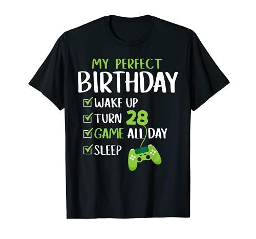 Fiesta de 28 cumpleaños Regalo perfecto para un jugador de 2 Camiseta