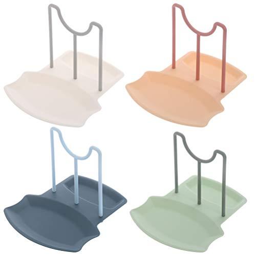 Hemoton 4Pcs Organisateur de Couvercle de Pot Casserole Support de Couvercle Support de Cuisine Organisateur pour Assiettes Planches à Découper Plateaux de Service (Blanc Vert Rose Bleu)