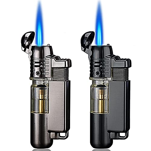 Yeuligo 2 Pack Butane Lighter, Mini Torch Lighter with Key Ring, Adjustable Jet Flame Windproof Gas Lighter for Grill BBQ Candle Camping Fireplace, Black and Grey (Without Butane Gas)