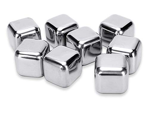 Whiskey Stones, Stainless Steel Reusable Ice Cubes Chilling Stones Rocks for Wine, Beer, Beverage,whiskey, vodka, liqueurs, white wine- Set of 8