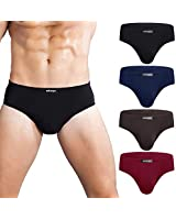 wirarpa Men's Underwear 4 Pack Modal Microfiber Briefs No Fly Covered Waistband Silky Touch Underpants Assorted, Small