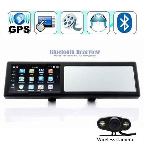 Specchietto retrovisore Bluetooth, navigatore GPS con telecamera wireless per la retromarcia, 4,3 pollici, con cartina Europa, codice prodotto GPS43MC