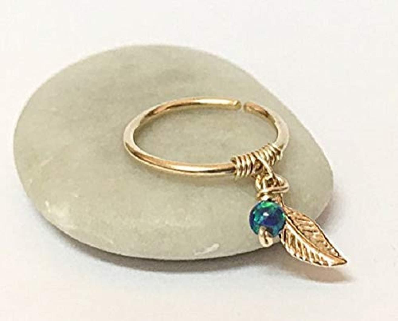 18K Cartilage Earring Yellow Rose Solid Gold Helix Hoop Leaf/Feather Piercing Ring