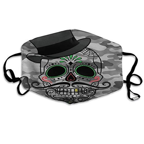 Masker voor heren, Gentilmann, schedel, met camouflagemuts, sportmasker, stofdicht, beschermend, wasbaar, herbruikbaar.