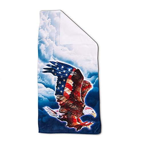 DZGlobal Patriotic Bald Adler Handtücher American Flag Blue Sky Badetuch 4. Juli Unabhängigkeit Tag US Flagge Gäste Fingerspitzen Handtücher sehr saugfähig für Badezimmer Küche Spa Fitnessstudio