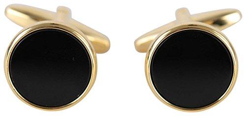 Gold überzogene Runde Manschettenknöpfe Onyx von David Van Hagen