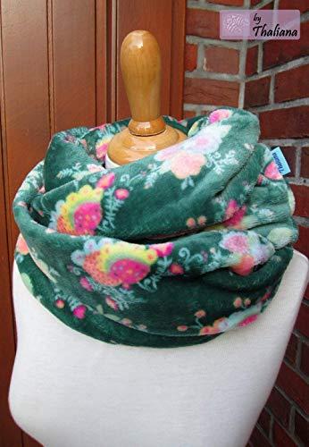 OOPSIE 2.te Wahl dunkelgrüner Loop mit Blüten Schal petrol bunt Blumen grüner Loopschal