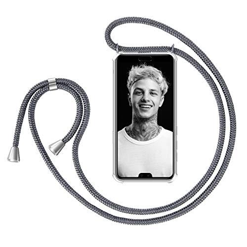 ZhinkArts Handykette kompatibel mit Huawei P20 Pro - Smartphone Necklace Hülle mit Band - Handyhülle Case mit Kette zum umhängen in Dunkelgrau