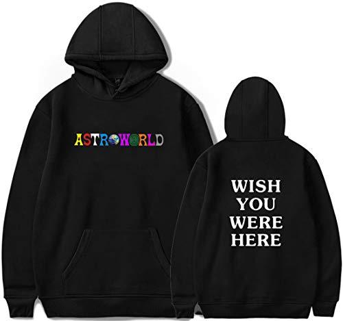PANOZON Sudadera Hombre Travis Scott Astroworld Impresión de Logo Hoodie Chaqueta con Capucha Estilo Casual