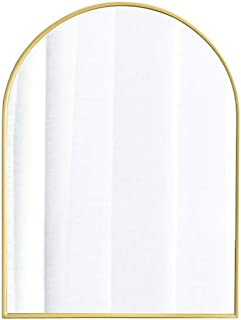 C-J-Xin Bathroom Makeup Mirror, Art Gallery Gallery Decorative Mirror Living Room Restaurant Metal Frame Wall Mirror Desktop Dressing Mirror Makeup Mirror (Color : Gold, Size : 40 * 60CM)