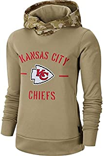 Dunbrooke Apparel Women's Kansas City Chiefs Khaki 2019 Salute to Service Therma Pullover Hoodie