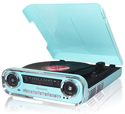 LAUSON 01TT18 Vinyl Plattenspieler Retro Design, Bluetooth, Musikanlage mit Plattenspieler, Stereoanlage Vintage, Retro Radio USB, 33/45/78 U/min, Vinyl zu MP3, Blau