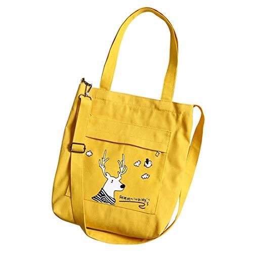 SODIAL Mode Damen Leinwand Umh?Ngetasche L?Ssige Einkaufstasche Weiche Umh?Ngetasche Schultasche Anime Handtasche Einkaufstasche Gelb