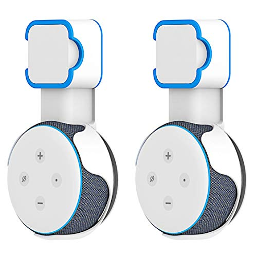 Visel 2X Pack Echo Dot 3rd Generation Outlet Wall Mount Hanger Holder No Muffled Sound No Messy Wires Space Saving Case Plug in Kitchen, Bathroom and Bedroom