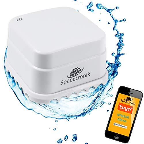 Smart Home kabellos Wassermelder WiFi, Water Detector Smartphone APP, 2X AAA Batterie, Alexa Google Home Tuya, Spacetronik SL-DW01