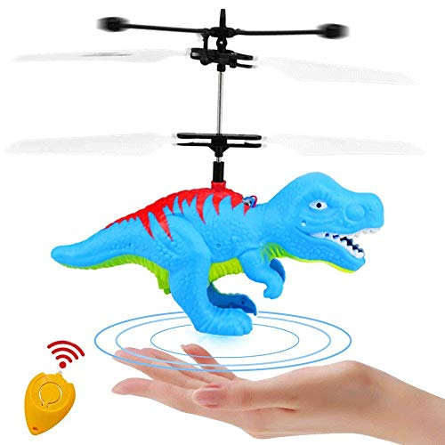 Mopoq Flying Ball Dinosaur Toys Flying Fairy Toys for Kids RC Drone with Remote Control Hand Controlled LED Colorful Helicopter Toy Birthday gifts Indoor Outdoor Game for Boys Girls Age 6 7 8 9-14 Yea