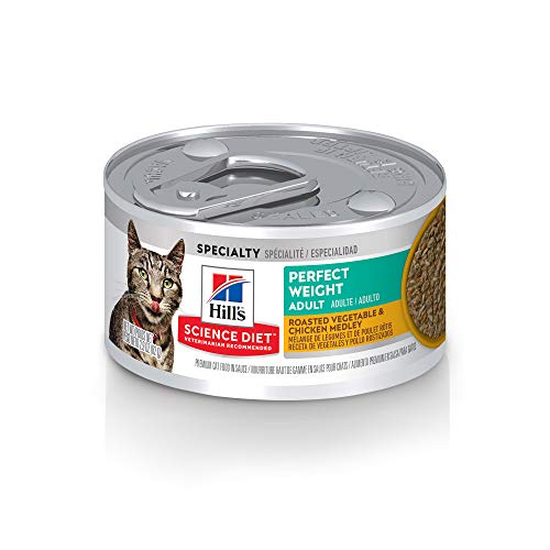 Hill's Science Diet Canned Wet Cat Food, Adult, Perfect Weight for Weight Management, Roasted Vegetable & Chicken Recipe, 2.9 oz Cans, 24 Pack