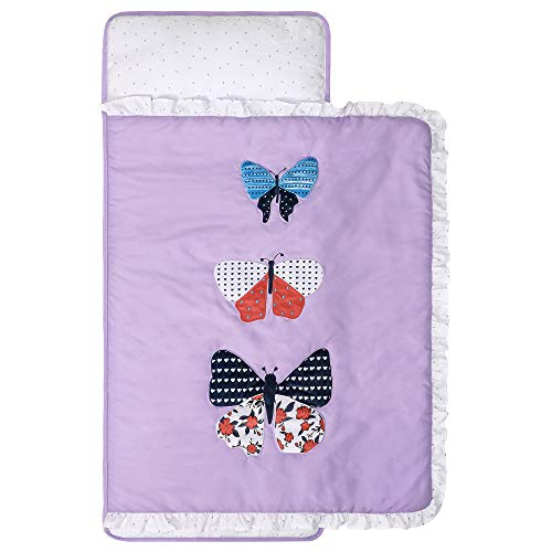 TILLYOU Luxury Padded Toddler Kid Nap Mat with Removable Pillow and Thick Comforter Blanket, Daycare Preschool Approved Silky Soft Warm Portable Sleeping Bag, 2-4 Years, Purple Butterflies
