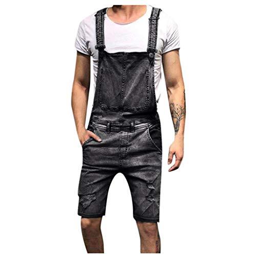 LQQSTORE Herren Hose Denim Overall Freizeit Jumpsuit Jeans Waschen Broken Taschen Suspender Herbst Winter (Grau, M)