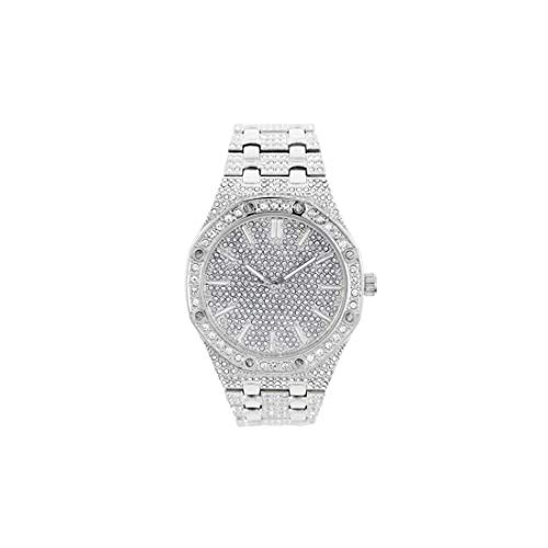 Silver & Gold Diamond Octagonal Watch AP Bust Down Hip HOP Gold Watch ICED Out Luxury Bling 45MM (Silver)