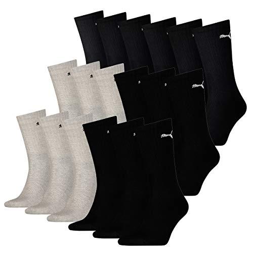 PUMA 18 Paar Socken Cush Crew Sportsocken Tennis Socken Unisex, Farbe:032 - grey melange, Socken & Strümpfe:43-46