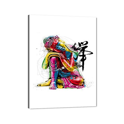 Colorful Buddha Canvas Wall Art Wood Framed Sleeping Buddha Statue Picture HD Oil Painting Stretched Gallery Canvas Wrap Giclee Print Home Yoga Room Office Wall Decor Ready to Hang-30''Wx40''H