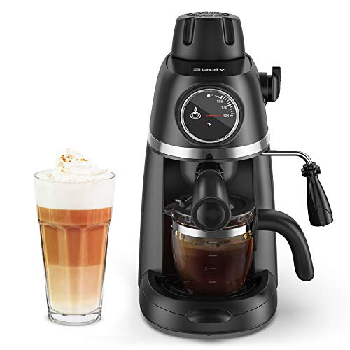 Sboly Steam Espresso Machine with Milk Frother, 1-4 Cup Coffee Maker with Thermometer, Latte Cappuccino Machine Includes Carafe, No apply to use ground espresso and any fine ground coffee