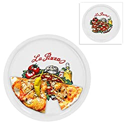 4x plato de pizza Nero negro vidrio Ø 32cm grande plato inscripción rojo blanco pizzas
