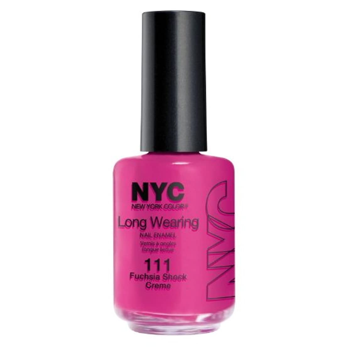 受動的子ほとんどの場合(6 Pack) NYC Long Wearing Nail Enamel - Fuchisia Shock Creme (並行輸入品)