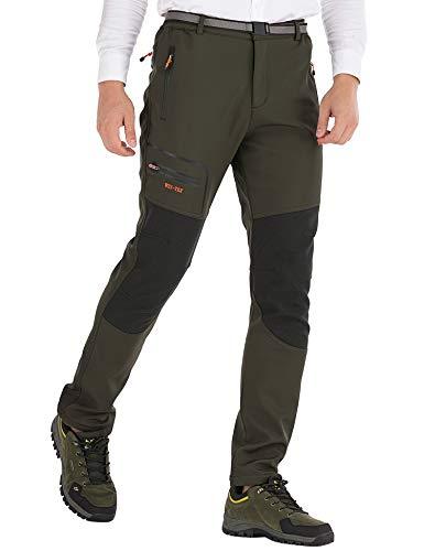 DAFENP Herren Wanderhose Outdoorhose Wasserdicht Softshellhose Winddicht Winter Warm Gefüttert Trekkinghose (small, A Armeegrün 8)