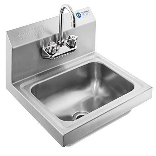 GRIDMANN Commercial NSF Stainless Steel Sink Wall Mount Hand Washing Basin with Faucet