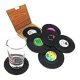 6pcs Creativo Negro Plástico Vinilo Disco de Mesa Manteles Individuales Retro Vintage Taza Coaster Decoración para el hogar CD Pads Esteras Taza Posavasos Negro-China