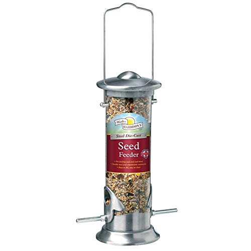 WH Brushed Steel Seed Feeder (Size: 20cm)
