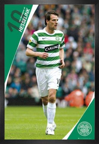 1art1 Football Poster and Frame (MDF) - Celtic, Jan Vennegoor of Hesselink 07/08 (36 x 24 inches) image