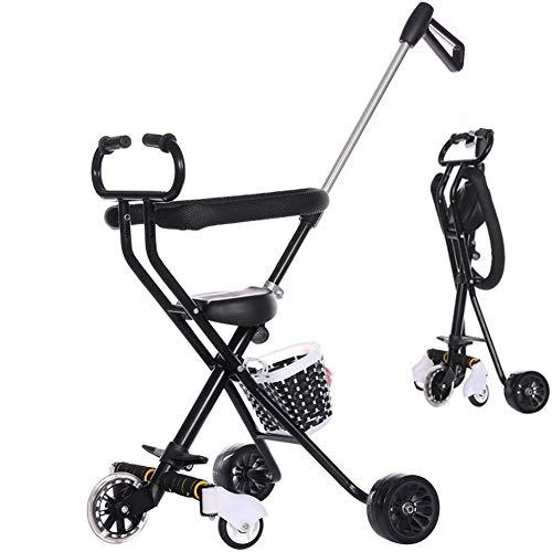 Ydq Tricycle Buggy Passeggino con Seggiolino Reversibile Pedale in Tessuto Oxford Trike Bicicletta Pieghevole Triciclo Passeggino per Bambini Triciclo con Maniglione per Bambini 6 Mesi A 5 Anni