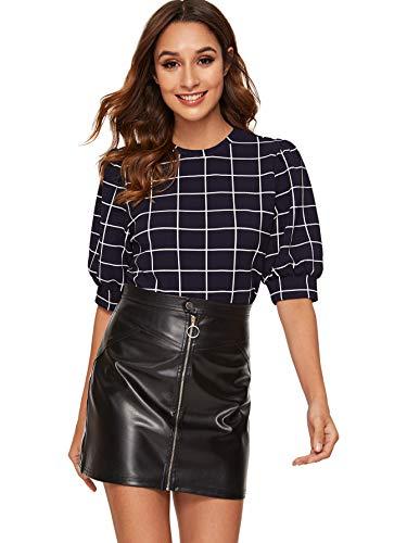 SheIn Women's Grid Office Blouse Work Top Puff Sleeve Shirt Black#1 X-Large