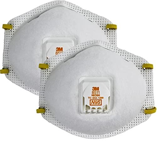 3M 8511 Paint Sanding Valved N95 Cool-Flow Respirator, 10-Pack