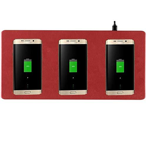 Qi Ultra-Thin 3 en 1 Cargador inalámbrico Mouse Pad Multi-CARGE Mobile TELÉFONO MULTIFONE Cargador INALÁMBRICO para iPhone X (Color : Red)