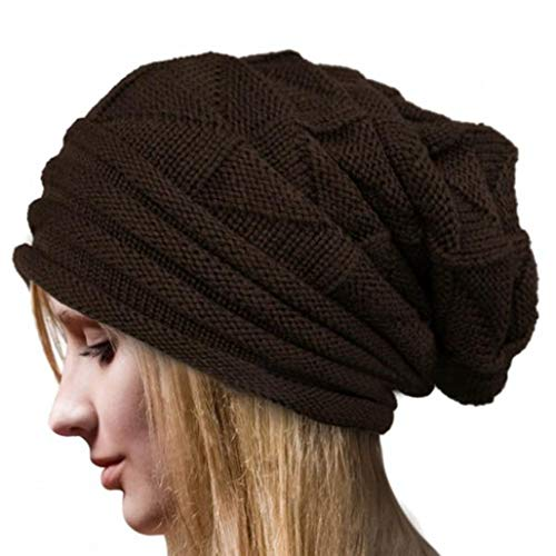 OYOSEH Damen Winter Häkelarbeit Hut Wollknit Beanie Warme Kappen Falten Mütze (Kaffee,Einheitsgröße)