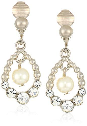 1928 Jewelry レディース シルバートーン 模造真珠とクリスタルクリップ ドロップピアス ホワイト ワンサイズ