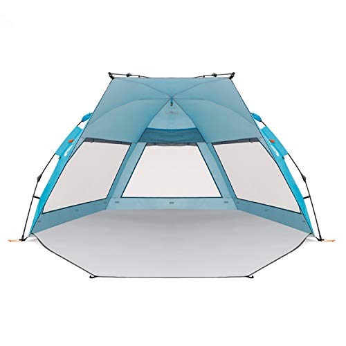 Easthills Outdoors Coastview Classic 2-4 Person Deluxe XL Beach Tent Sun Shelter Double Silver Coating Sun Shade Instant Tent for Beach with Carrying Bag Pacific Blue