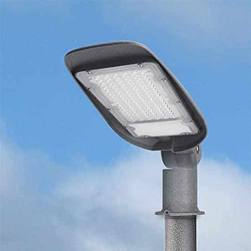 Aigostar Farola LED, 50W, luz blanca fría 6500K, 5000lm. Luz LED para exterior, impermeable IP65, protección de impactos IK07. Iluminación LED para patios, aparcamientos, canchas, plazas