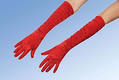 Andrea Moden 0201/1 - Galahandschuhe, rot, gerafft, Länge ca. 45 cm, Handschuhe, Armstulpen, 20er Jahre, Motto Party, Karneval