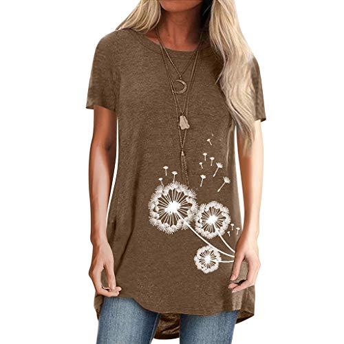TOPEREUR Pusteblume Bedrucktes T-Shirt Damen Kurzarm Lose Bluse Rundhals Longshirt Sommer Tshirt Hemd Sweatshirt Kurzarmshirt Lang Tops (Braun, 40)