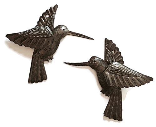 "Hummingbirds, Nature Inspired Haitian Recycled Metal Drum Wall Art (set of 2) 6"" x 5.5"""