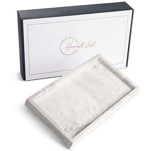 Honest Loft Bandeja decorativa de piedra de mármol para baño, cocina, tocador, mesita de noche o escritorio