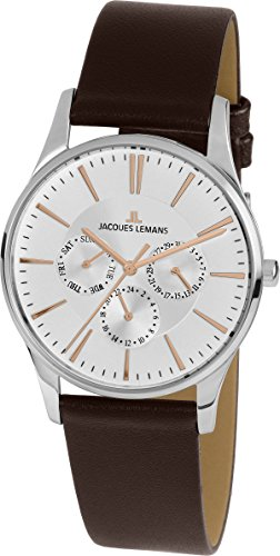 Reloj Cuarzo Jacques Lemans para Unisex con Plata Analogico Y Marrón Cuero 1-1929D