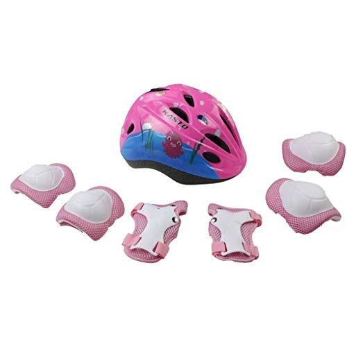 GDSAD Outdoor Sports Kinderhelm Rutschschutz Set Fahrrad Skateboard Rollschuhe Balancer Kniepolster Schutzhelm / (Color : Pink Suit)