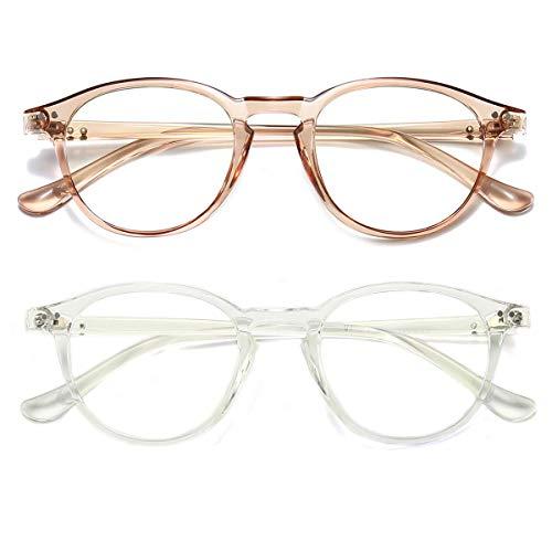 Dollger Blaulichtfilter Brille Computerbrille ohne sehstärke Anti-Blaulicht Klassische Rund Frame Gaming Brille für Damen Herren (Transparent und Transparent Tee)